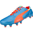 Puma evoSPEED 1.2 FG Soccer Cleats  Sharks Blue with Fluro Peach