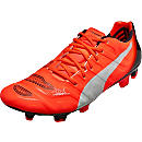 Puma evoPOWER 1.2 FG Soccer Cleats - Lava Blast and White