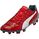 Puma evoPOWER 1.2 Graphic FG Soccer Cleats - Red and White