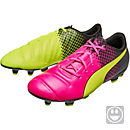 Puma Kids evoPOWER 4.3 FG - Tricks - Soccer Cleats- Pink Glow & Safety Yellow