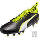 Puma Kids evoTOUCH 1 FG Soccer Cleats - Black & Safety Yellow
