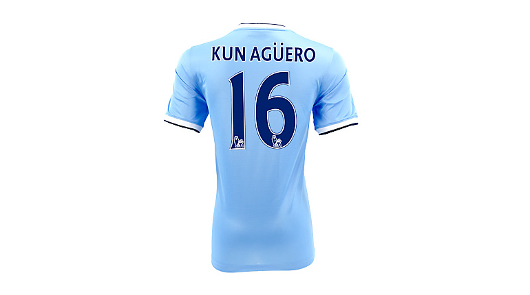 Nike Manchester City Aguero Home Jersey 2013-2014