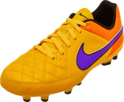 Nike Youth Tiempo Genio Leather FG Soccer Cleats - Orange and Volt