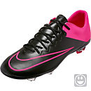 Nike Kids Mercurial Vapor X FG Soccer Cleats - Black and Hyper Pink
