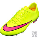 Nike Kids Mercurial Vapor X FG Soccer Cleats - Volt and Black