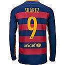 Nike Luis Suarez Barcelona Home L/S Jersey 2015