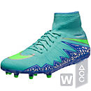 Nike Womens Hypervenom Phantom II FG Soccer Cleats - Hyper Turquoise & Green