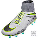 Nike Kids Hypervenom Phantom II FG Soccer Cleats - Pure Plainum & Ghost Green