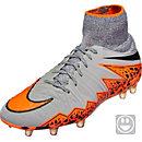 Nike Kids Hypervenom Phantom II FG Soccer Cleats - Grey and Black