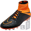 Nike Hypervenom Phantom II Leather AG-R Soccer Cleats - Black and Orange