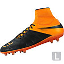Nike Hypervenom Phatal II DF FG Leather Soccer Cleats - Black and Orange