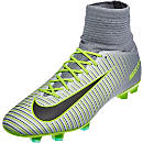 Nike Kids Mercurial Superfly V FG Soccer Cleats - Pure Platinum & Ghost Green