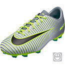 Nike Kids Mercurial Vapor XI FG Soccer Cleats - Pure Platinum & Ghost Green