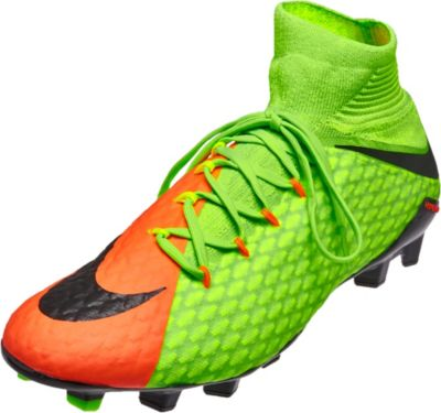 Nike Hypervenom Phantom III Firm Ground Football Boots - Electric Green/Black/Hyper Orange/Volt