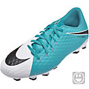 Nike Kids Hypervenom Phelon III FG Soccer Cleats - White & Photo Blue