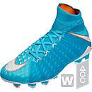 Nike Womens Hypervenom Phantom III DF FG Soccer Cleats - Polarized Blue & White