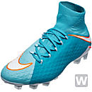 Nike Womens Hypervenom Phatal III DF FG Soccer Cleats - Polarized Blue & White