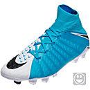 Nike Kids Hypervenom Phantom II DF FG Soccer Cleats - White & Photo Blue