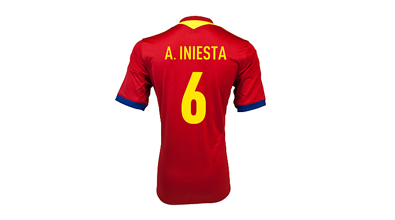 adidas Spain Iniesta Home Jersey 2013