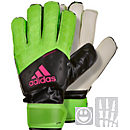 adidas Kids ACE Fingersave Goalkeeper Gloves - Solar Green & Black