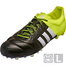 adidas Kids Leather ACE 15.1 FG/AG Soccer Cleats - Black and White