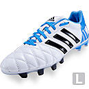 adidas 11pro TRX FG Soccer Cleats  White with Solar Blue