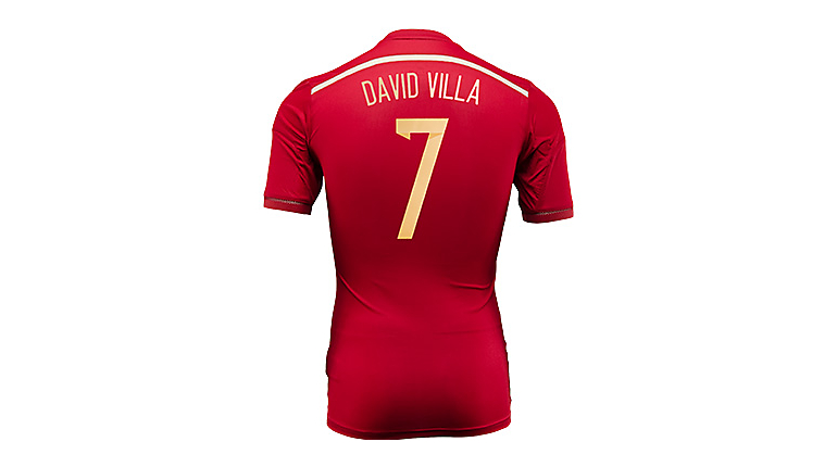 adidas Spain David Villa World Cup Home Jersey