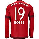 adidas Mario Gotze Bayern Munich L/S Home Jersey 2015