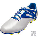 adidas Kids Messi 15.1 FG/AG Soccer Cleats - White & Pride Blue