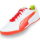 Puma evoSPEED 1.2 Sala Indoor Soccer Shoes  White with Cherry Tomato