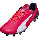 Puma evoSPEED 1.3 FG Soccer Cleats - Bright Plasma and White