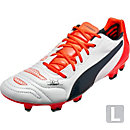 Puma evoPOWER 1.2 FG Leather Soccer Cleats - White and Total Eclipse