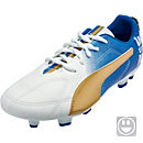 Puma Kids MB 9 FG Soccer Cleats - White and Gold