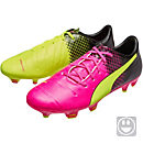 Puma Kids evoPOWER 1.3 FG - Tricks - Pink Glow & Safety Yellow