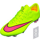 Nike Mercurial Vapor X FG Soccer Cleats - Volt and Pink
