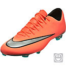 Nike Kids Mercurial Vapor X FG Soccer Cleats - Bright Mango & Hyper Turquoise