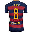 Nike Andres Iniesta Barcelona Home Match Jersey 2015-16