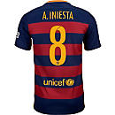 Nike Kids Andres Iniesta Barcelona Home Jersey 2015