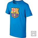 Nike Kids Barcelona Crest Tee - Light Blue Lacquer & Black
