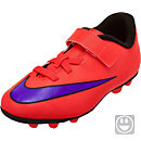 Nike Youth Merurial Vortex II FG-R- Velcro Soccer Cleats - Red and Purple