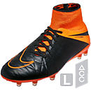 Nike Hypervenom Phantom II Leather FG  Soccer Cleats - Black and Orange