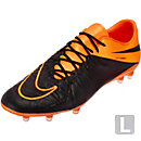 Nike Hypervenom Phinish Leather FG Soccer Cleats - Black and Orange