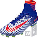 Nike Womens Mercurial Superfly V FG Soccer Cleats - White & Racer Blue