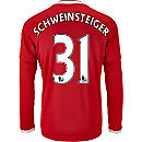 adidas Bastian Schweinsteiger Manchester United L/S Home Jersey