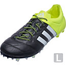 adidas ACE 15.1 Leather FG/AG Soccer Cleats - Black and Semi Solar Yellow