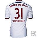 adidas Kids Schweinsteiger Bayern Munich Away Jersey 2014-15